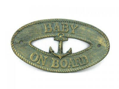 """Antique Bronze Cast Iron Baby on Board with Anchor Sign 8"""" - Decorative Metal Wa"""