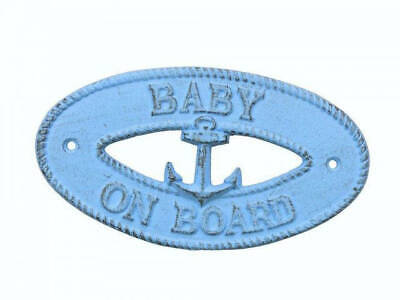 """Rustic Light Blue Cast Iron Baby on Board with Anchor Sign 8"""" - Decorative Metal"""