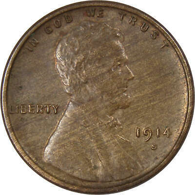 1914 S Lincoln Wheat Cent Penny AU-About Uncirculated