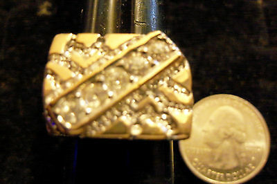 bling gold plated nugget cubic CZ rectangle FASHION ring hip hop JEWELRY sz10 GP