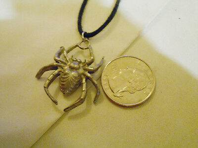 bling pewter MYTH WITCH crawling spider FASHION pendant charm necklace JEWELRY