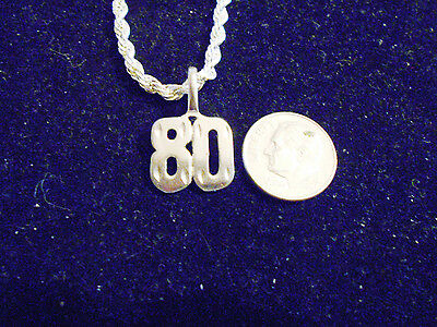 bling silver plated sports team number 80 fashion pendant charm necklace jewelry