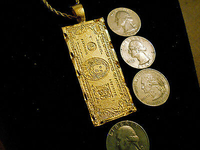 bling gold plated 100 dollar bill rapper pendant charm necklace hip hop jewelry