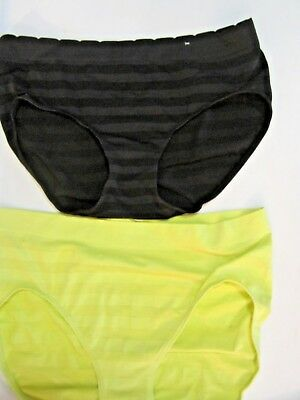 New Cacique Black & Yellow Seamless Microfiber Hipster Panty Set Of Two 14/16 1X