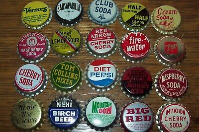 Lot of 20 different Vintage Unused Soda Pop Bottle Caps S Firewater Duke 7 UP
