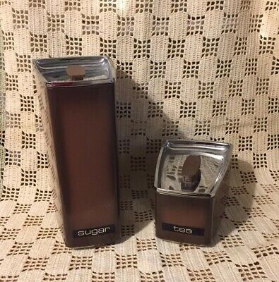 2 Vintage 1970's Kitchen Canisters Lincoln Beauty Ware Stainless Steel & Brown