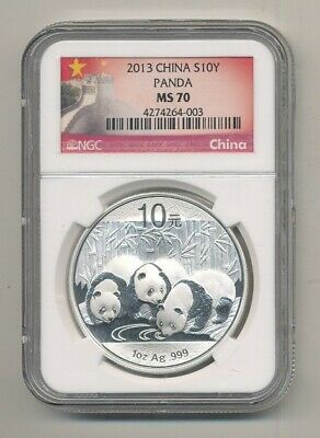 2013 Silver China Panda NGC MS 70 10 Yuan 1 oz Coin Exact Shown