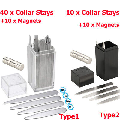 40/10 Metal Collar Stays + 10 Magnets For Men Mens Shirt Various Sizes W/ BOX