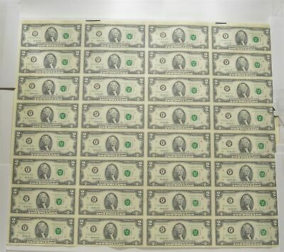 Sheet Of 32 1995 $2 Federal Reserve Notes - Uncut Sheet Of Notes! *3904
