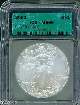 2003 American Silver Eagle ASE S$1 ICG MS69 MS-69 BEAUTIFUL Premium Quality PQ++