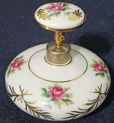 Vintage ORIGINAL IRICE perfume bottle white with pink roses shabby chic MINT