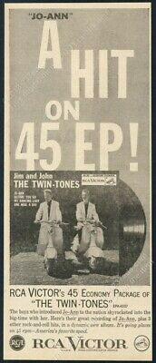 1957 The Twin Tones photo Jo-Ann record release RCA vintage trade print ad