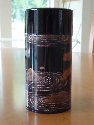 "Japanese 6""H Tin Tea Canister Black, Gold, Red Maple Garden/ Made in Japan"