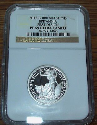 2012 Great Britain Britannia First Design NGC PF69 Ultra Cameo £1 Silver 1/2 Oz.
