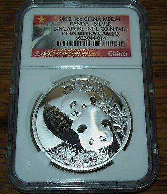 2012 NGC PF69 China Panda Singapore Coin Fair 1 oz. Silver Medal Proof