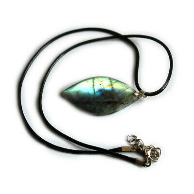 Women Men Crystal Leaves Labradorite Pendant Natural Stone Leather Necklace Gift