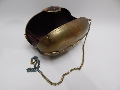Antique Vintage Hard Body Purse Bag Metal Brass Oval Wood Inlay Waves Wooden