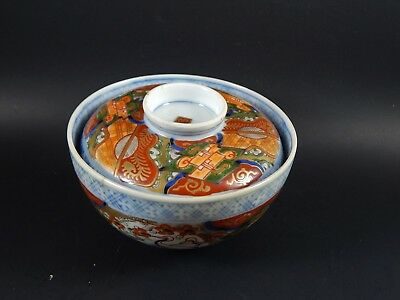 Antique Japanese Imari Porcelain Covered Rice Bowl Meiji Arita Hizen 1868-1912