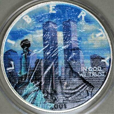 2001-W American Eagle Colorized Uncirculated Silver Dollar - World Trade Tower