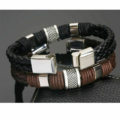 Men Bracelet Magnetic Clasp Titanium Steel Braided Leather Bangle Jewelry Gift