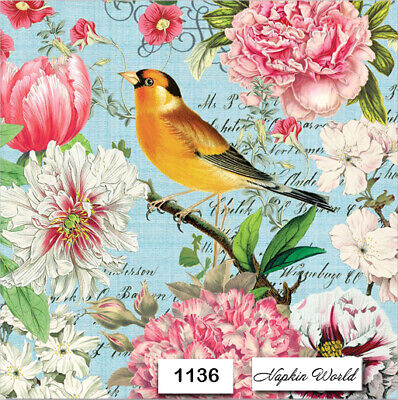 (1136) TWO Individual Paper Luncheon Decoupage Napkins - FLOWERS SONG BIRD FLORA