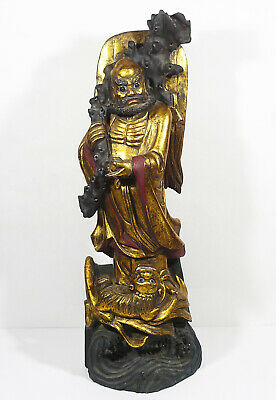 ANTIQUE Carved Wood Sculpture Gold Gilt Statue Old Wiseman Figure Asian China