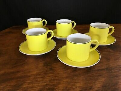 Vintage Retro Collectable Kelco Lime Demitasse Cups & Saucers: set of 5