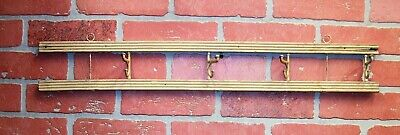 Vintage Farm House Salvage - Painted Wood Iron Hooks Wall Hanging Coat Hat Rack