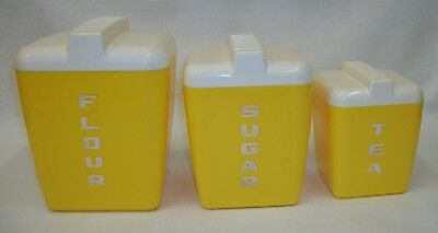 Vintage 1950s Yellow Lustro Ware Retro Kitchen Canisters
