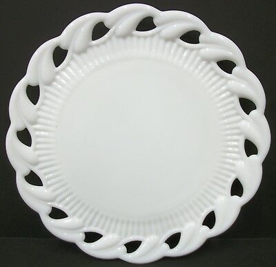 Vintage Heavy Milk Glass Open Edge Leaf Lace Ribbed Plate