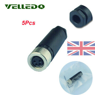 For Photoelectric Barriers VELLEDQ M8 Female 4-Pin Terminal Plug Fittings 5Pcs