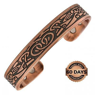 Reevaria Pure Copper Magnetic Heavyweight Cuff Bracelet for Men, with 8...