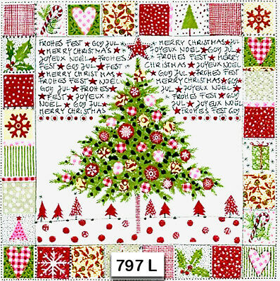 (797) TWO Individual Paper Luncheon Decoupage Napkins - CHRISTMAS PATCHWORK TREE