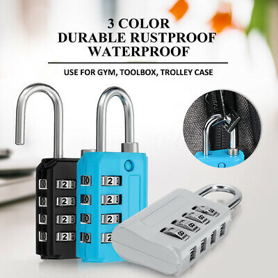 1x Resettable Mini 4 Digit Combination Lock Travel Luggage Suitcase Gym