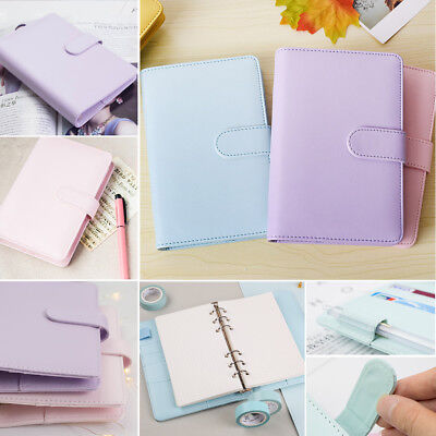 A5 Leather Loose-Leaf Ring-Binder-Notebook Macaron Colour Agenda Planner Record
