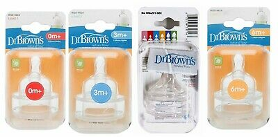 Dr Brown's Wide Neck Silicone Teats Feeding Nipple Level 1 2 3 4 In MultiplePack