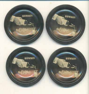 4pc x Vintage Tin Bar Coasters HAYWARDS OLD TAVERN WHISKEY 3.25in across