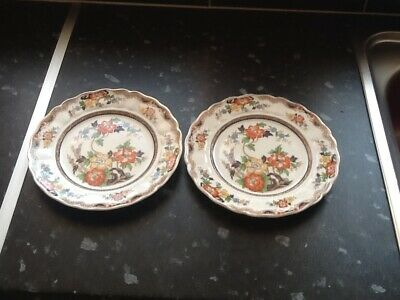 Lovely Pair Old Warwick Pattern Plates Grindley Pottery