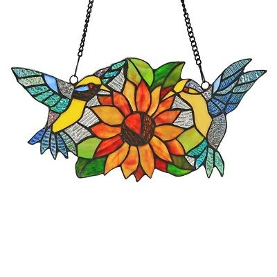 """Sunflower & Birds Tiffany-style Stained Glass Window Panel 15"""" L x 7"""" H"""