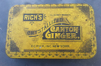 Old Advertising Tin Rich's Crystallized Canton Ginger EC Rich NY
