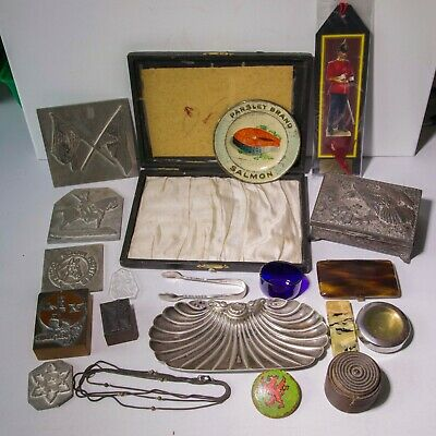 SMALL LOT OF COLLECTABLES metal box treen stamps crumb tray sugar snips etc