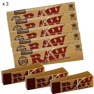 RAW Rolling Papers King Size Slim Classic Unrefined Skins x 10 + FREE TIPS x 6