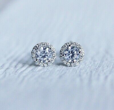 1.00 Ct Round-Cut VVS1/D Diamond Halo Flower Stud Earrings 14K White Gold Finish