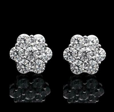 2.00 Ct Round-Cut VVS1/D Diamond Halo Flower Stud Earrings 14K White Gold Finish
