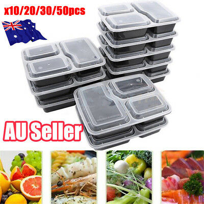 10-50Pcs Microwavable Meal Prep Containers Plastic Food Storage Reusable Box J6