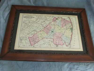 Antique Victorian Frame & 1872 Beers,Comstock, & Cline Map of Monmouth County,NJ