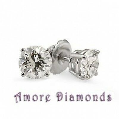 0.41 ct G VS round diamond solitaire 4 prong stud earrings 14k white gold screw