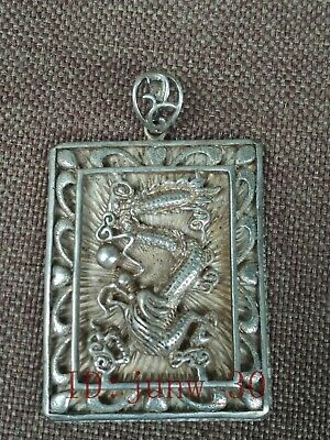 Collection old China Tibet Silver Carving Mighty Dragon Statue Pendant Amulet