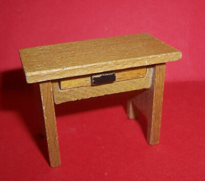 VINTAGE DOLLS HOUSE DOL TOI SMALL TABLE WITH DRAWER BEDSIDE 16th LUNDBY SCALE