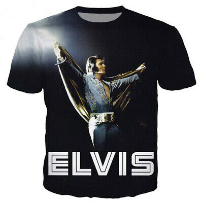 Women Men Casual T-Shirt Singer King Elvis Presley 3D Print Short Sleeve Top Tee